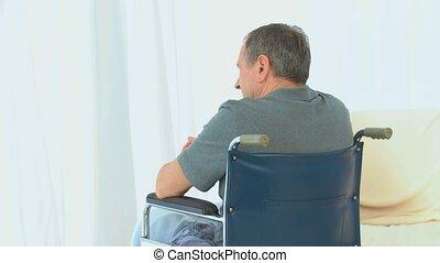 homme, fauteuil roulant