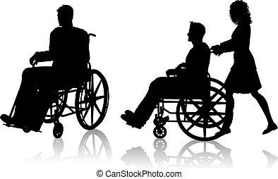 homme femme, à, fauteuil roulant