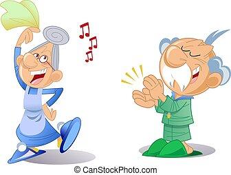 homme, femme âgée, danse