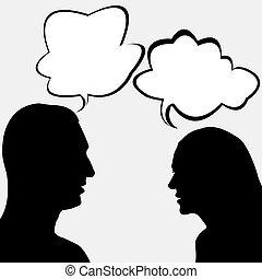 homme femme, bavarder