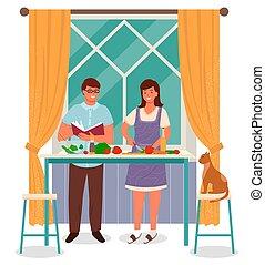 homme, femme foyer, salade, cuisine, femme, cuisinier