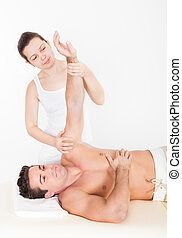 homme, femme, masser, main