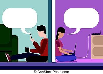 homme femme, reposer plancher, chez soi, bavarder, ensemble, utilisation, cellule, intelligent, téléphone, et, ordinateur portatif, sans fil, wifi, ligne, connexion