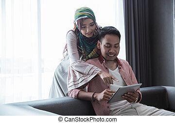 homme femme, utilisation, pc tablette