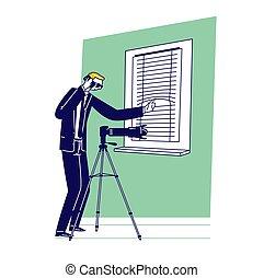 homme, fenêtre., agent, appareil photo, usure, photo, ...