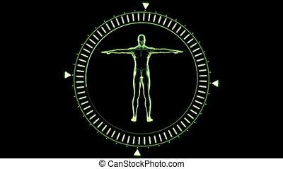 homme, figure, cercle, tournant