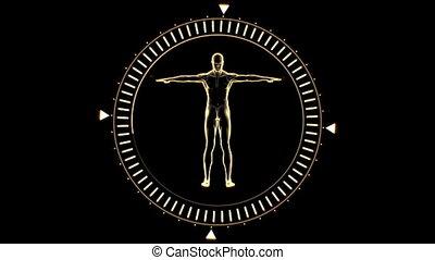 homme, figure, tournant, cercle