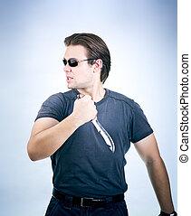 homme, fort, couteau, armée