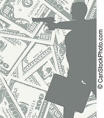 homme, fusil, argent, silhouette