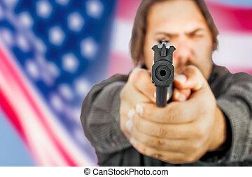 homme, fusil