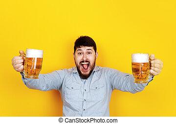 homme, gai, bière