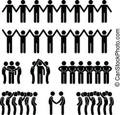 homme, gens, uni, unité, communauté