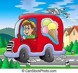 homme glace, conduite, voiture rouge