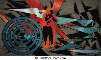 homme, graffiti, danses