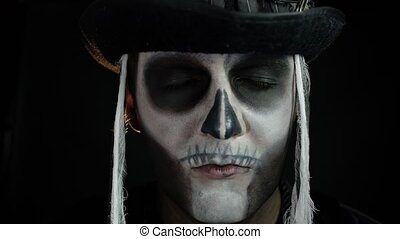 homme, grand ouvert, type, cosplay, halloween, yeux, costume...