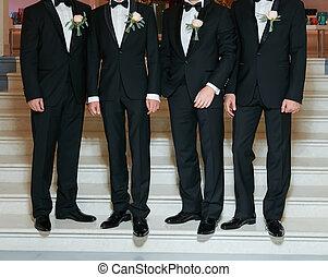 homme, groomsmen, palefrenier, mieux, mariage