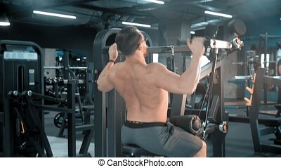 homme, gymnase, exercices, force, culturiste
