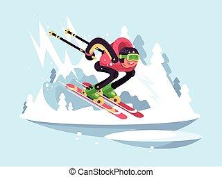 homme, hiver, ski