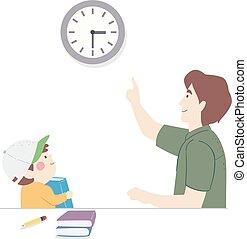 homme, horaire, gosse, illustration, papa, étude, garçon, ensemble