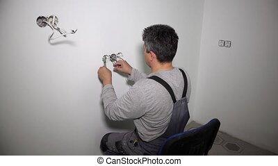 homme, house., amateur, électricien, vous-même, sien, travaux, il