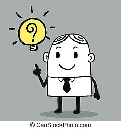 homme, idée, business, obtenir