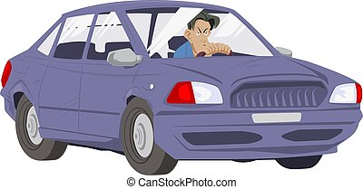 homme, illustration courante, voiture., conduite