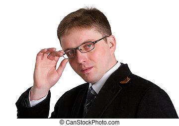 homme, isolé, jeune, arrière-plan noir, complet, sourire, beau, blanc, lunettes