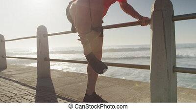 homme, jambe, personne agee, sien, tenue, douleur, promenade