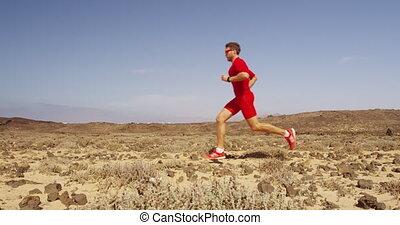 homme, jeûne, -, courant, coureur, athlète, exercisme, piste