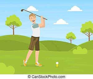 homme, jeune, activité physique, mâle, vecteur, golfeur, dehors, cours, club golf, formation, illustration