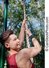 homme, jeune, exercice, fitness