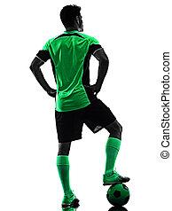 homme, jeune, silhouette, isolé, fond, joueur, blanc, ombre, football