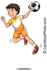 homme, jouant handball, balle