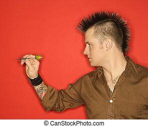 homme, jouer, darts., caucasien