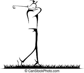 homme, jouer golf