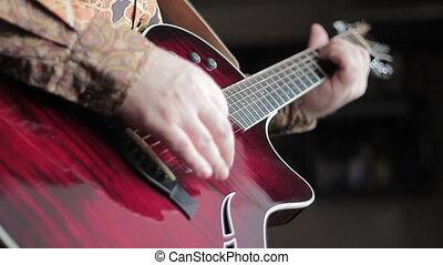 homme, jouer, guitare acoustique