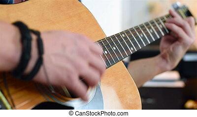 homme, jouer, sur, a, guitare classique