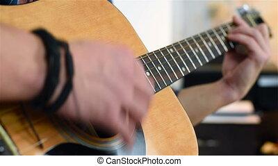 homme, jouer, sur, guitare