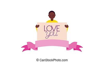 homme, jour, afro, valentines, caractère, bannière