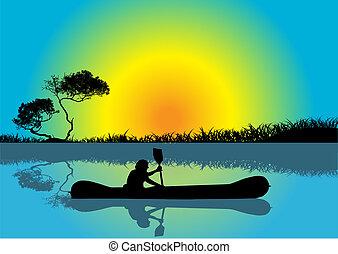 homme, kayaking, à, levers de soleil