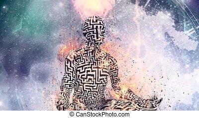homme, labyrinthe, pose, brûlé, lotus, modèle, figure