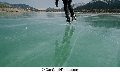 homme, lac, patinage, surgelé