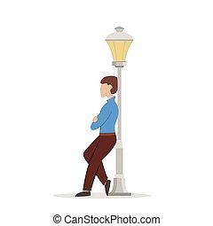 homme, lanterne