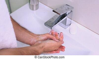 homme, lavage, savon, mains