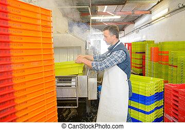 homme, lavage, usine, caisses, plastique