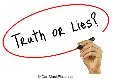 homme, lies?, photo, concept., screen., isolé, arrière-plan., visuel, noir, main, vérité, internet, marqueur, écriture, technologie, business, ou, stockage