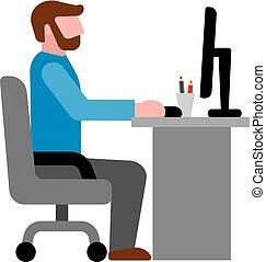 homme, lieu travail, bureau, icône