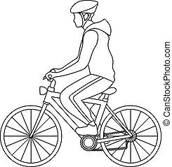 homme, ligne, équitation, vêtements de sport, simple, vélo, art