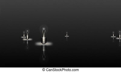 homme, lumière, mouvement, ampoules