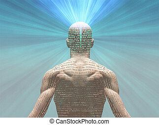 homme, lumière, texte, sien, peau, radiates